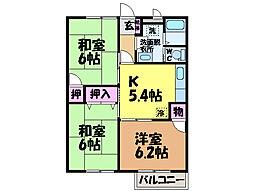 愛媛県松山市北梅本町の賃貸アパートの間取り
