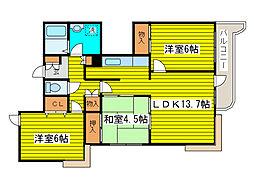 北海道札幌市東区北二十条東20丁目の賃貸マンションの間取り