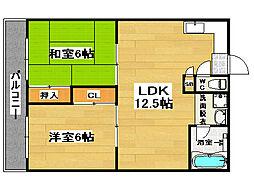 福岡県福岡市博多区西月隈6丁目の賃貸マンションの間取り