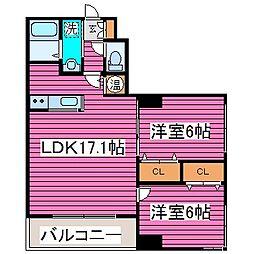 北海道札幌市東区北三十六条東7丁目の賃貸マンションの間取り