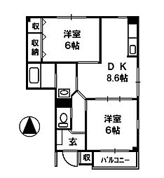 ヴェル西城[1階]の間取り
