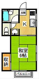 東京都世田谷区成城5丁目の賃貸アパートの間取り