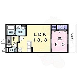 阪急京都本線 水無瀬駅 徒歩7分の賃貸アパート 2階1LDKの間取り