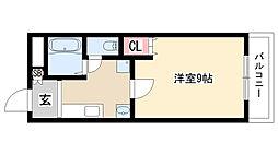 愛知県名古屋市天白区島田が丘の賃貸アパートの間取り