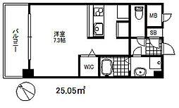 ソアシンナガタ 7階ワンルームの間取り