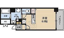 クレアート大阪トゥールビヨン 3階1Kの間取り