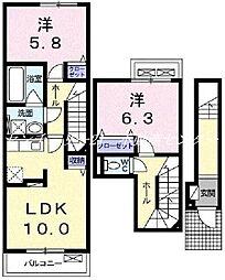 JR宇野線 備前西市駅 3.1kmの賃貸アパート 2階2LDKの間取り