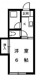 東京都目黒区八雲2丁目の賃貸アパートの間取り