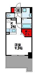 ビリーヴルーム 6階1Kの間取り