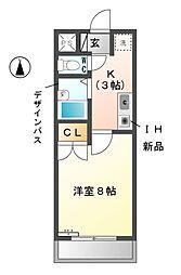 愛知県清須市清洲1丁目の賃貸アパートの間取り