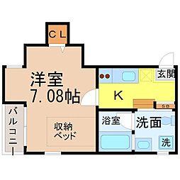 愛知県名古屋市中村区鳥居西通1丁目の賃貸アパートの間取り