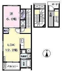 愛知県名古屋市西区五才美町の賃貸アパートの間取り