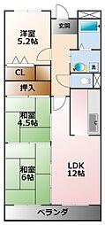 ボヌール甲子園[3階]の間取り