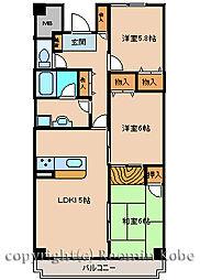 兵庫県神戸市西区南別府1丁目の賃貸マンションの間取り