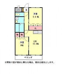 愛知県一宮市末広2丁目の賃貸マンションの間取り