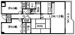 シャルマン木ノ元[6階]の間取り