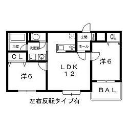 ゴールドハイツ久宝寺[2階]の間取り