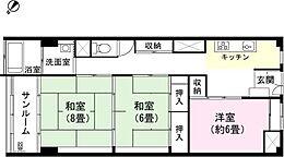 和室8畳 和室6畳 洋室約6畳 K サンルーム