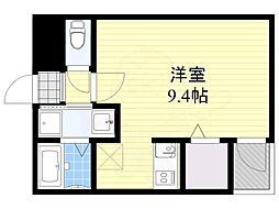 福岡市地下鉄空港線 中洲川端駅 徒歩13分の賃貸マンション 11階1Kの間取り