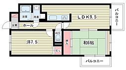 大阪府豊中市刀根山6丁目の賃貸マンションの間取り