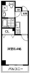サクシード伏見京橋 1階1Kの間取り