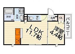 南海線 浜寺公園駅 徒歩8分の賃貸マンション 1階1LDKの間取り