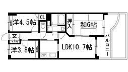 兵庫県宝塚市中州1丁目の賃貸マンションの間取り
