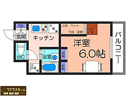 大阪府堺市北区中百舌鳥町2丁の賃貸マンションの間取り