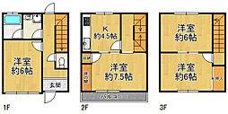 大阪市福島区福島4丁目 中古テラスハウス 4DKの間取り