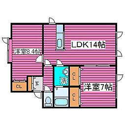北海道札幌市東区北四十九条東14丁目の賃貸アパートの間取り
