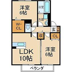 大阪府寝屋川市打上元町の賃貸アパートの間取り