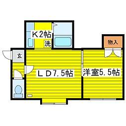 北海道札幌市東区北二十三条東15丁目の賃貸アパートの間取り