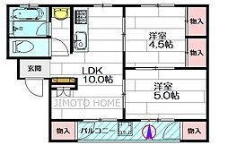 千里マンションA棟[2階]の間取り