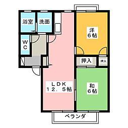 サニーハイツゆうりん館A[1階]の間取り