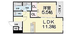 南海線 羽衣駅 徒歩5分の賃貸マンション 1階1LDKの間取り