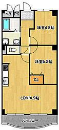 兵庫県神戸市北区鈴蘭台南町2丁目の賃貸マンションの間取り