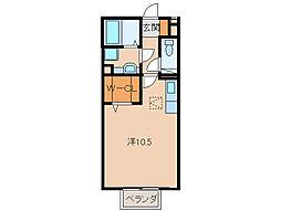 JR紀勢本線 紀三井寺駅 徒歩20分の賃貸アパート 1階ワンルームの間取り