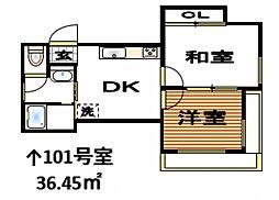 メゾンラック[1階]の間取り