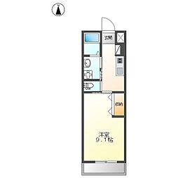 JR篠ノ井線 南松本駅 徒歩23分の賃貸アパート 2階1Kの間取り