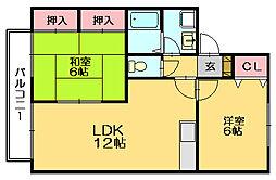 ボンセジュール田代E[2階]の間取り