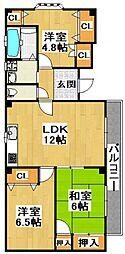 パンサーハイム 2階3LDKの間取り