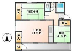 鍋屋上野住宅5号棟[4階]の間取り