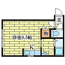 エーワンコートI[1階]の間取り