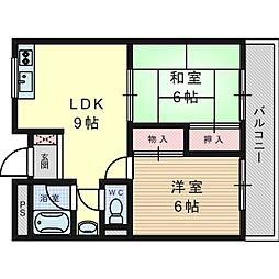 松原ハイツマキ[3階]の間取り