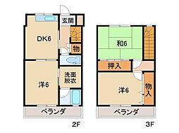 グリーンヒルとまとIII 2階3DKの間取り