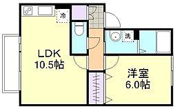 ブライト倉敷C棟[2階]の間取り