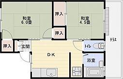 サンハイツA棟 1階2DKの間取り