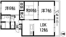 兵庫県宝塚市中筋7丁目の賃貸アパートの間取り