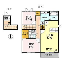 大阪府大阪市平野区西脇2丁目の賃貸アパートの間取り