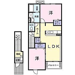 神奈川県南足柄市岩原の賃貸アパートの間取り